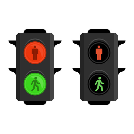 Pedestrian traffic lights red and green. Semaphore isolated on white background. Simple traffic light. Vector illustration in flat style. EPS 10. Illustration