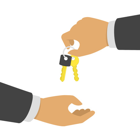 Hand giving keys another hand. Businessman holding key on ring. Buying or renting a new apartment, house or car. Real estate, vehicle sale or rent concept. Vector illustration in flat style. EPS 10.