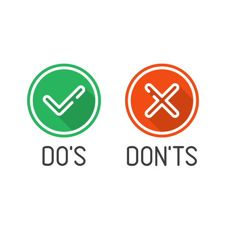 Check mark icons set with long shadows, isolated on white background. Green tick and red cross checkmarks buttons in flat style. Yes or No confirm or reject signs. Vector illustration EPS 10.