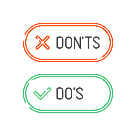 Thin line check mark icons set isolated on white background. Green tick and red cross checkmarks buttons in flat style. Yes or No confirm or reject signs. Vector illustration EPS 10. Illustration