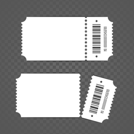 Blank ticket template. Retro cinema ticket templates, isolated on transparent background. Set of Tickets to theater, concert or other event. Vector illustration in flat style. EPS 10.