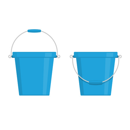 Buckets icon set in flat style. Water bucket isolated on white background. Plastic pail sign. Vector illustration EPS 10.