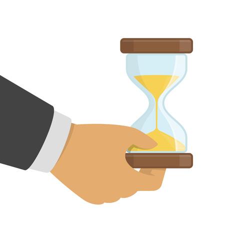 Hourglasses in hand. Illustration