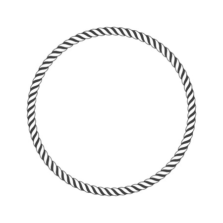 Round marine rope frame for photo or text. Vintage framework isolated on white background. Twisted rope circle border for decoration. Rope Frame simple monochrome icon. Vector illustration. EPS 10.