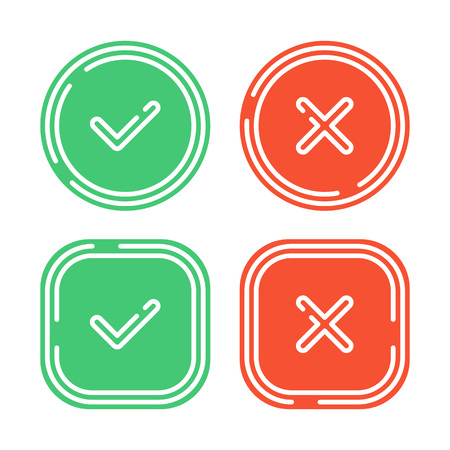 Check mark icons set isolated on white background. Green tick and red cross checkmarks buttons in flat style. Yes or No confirm or reject signs. Vector illustration EPS 10.