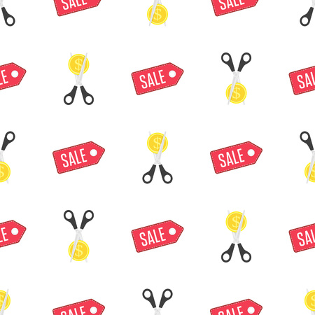 Discount seamless pattern. Scissors cutting money. Sale and discounts background. Concept of cost reduction or cut price. Vector illustration in flat style. EPS 10. Illustration