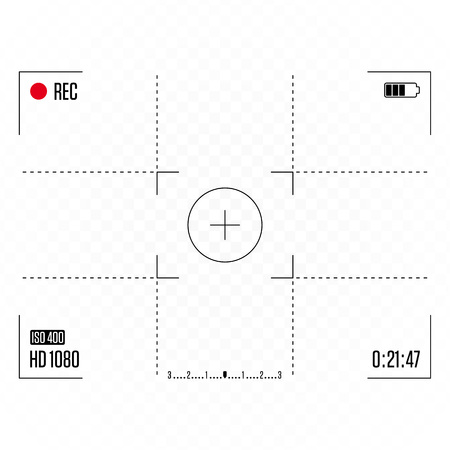 Camera frame viewfinder isolated on transparent background. Viewfinder grid photo or video camera display. Recording Rec led blinked. Vector illustration EPS 10.