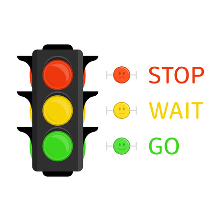 Traffic Light icon in flat style. Semaphore isolated on white background. Simple traffic lights with red, yellow, green lights - go, wait, stop. Vector illustration EPS 10. Illustration