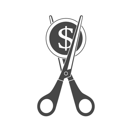Scissors cutting money. Simple monochrome icon. Sale and Discounts symbol. Concept of cost reduction or cut price. Vector illustration in flat style. EPS 10.