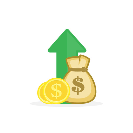 Illustration of income increase, fund management. Concept of financial strategy, fund raising or budget balance. Vector icon in flat style for your design projects.