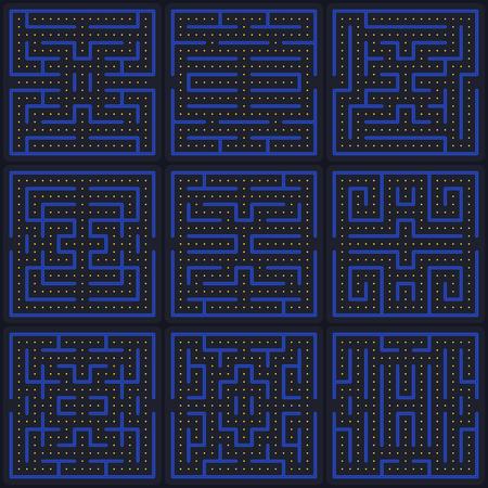 Labirinto di concetto di gioco. Elementi di design dell'interfaccia per videogiochi arcade moderni. Mondo di gioco. Schermata di gioco del computer o del cellulare.