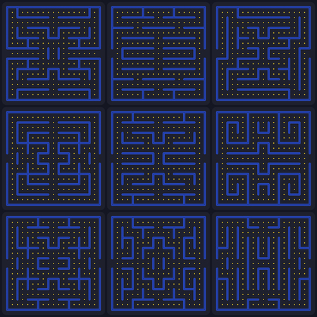 Game concept maze. Modern arcade video game interface design elements. Game world. Computer or mobile game screen.