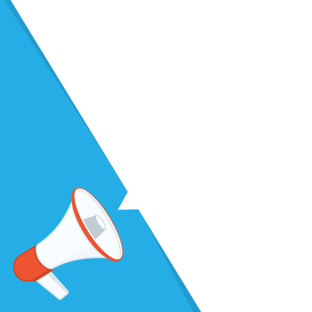 Megaphone with blank bubble speech. Loudspeaker advertisement concept. Banner for business, promotion and advertising. Vector illustration in flat style. EPS 10. Illustration