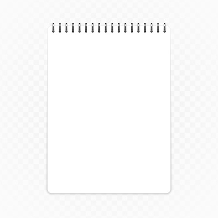 Blank notepad template, isolated on transparent background. Clean notebook mockup in realistic style. Note page, notebook or notepad vector illustration. EPS 10. Illustration