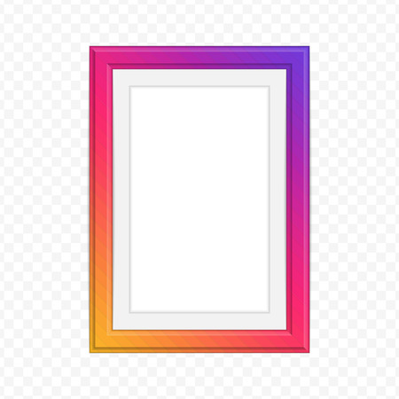 Single colorful wooden frame. Modern picture frame of colorful set for your web design. Inspired by instagram. Abstract framework template on transparent background. Vector illustration EPS 10.