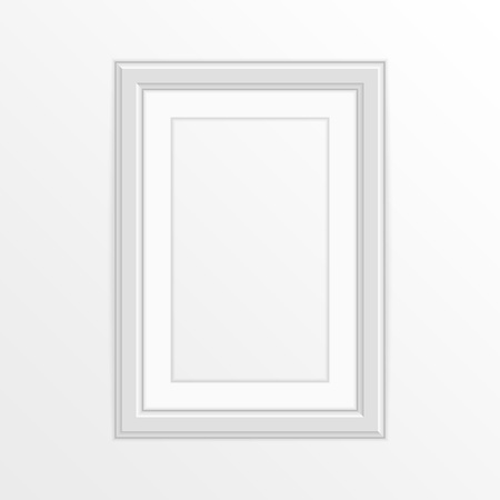 Realistic empty photo frame template, isolated on white background. White, blank picture frame for A4 image or text. Modern design element for you product mock-up or presentation. Vector illustration.