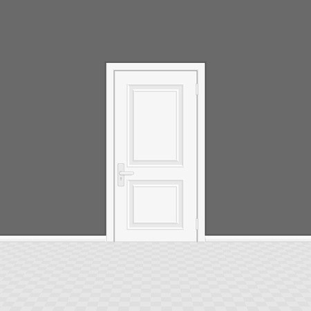 Closed white entrance door. Realistic style. White interior wooden doors on gray wall background. Vector illustration EPS 10.  イラスト・ベクター素材