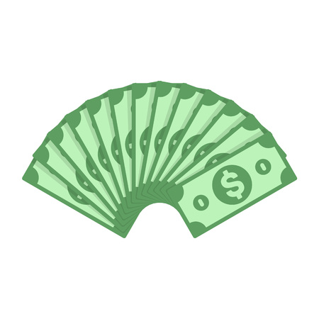Dollar banknotes fan, in flat style. Big pile of cash money isolated on white background. Investment, financial or business concept. Vector illustration EPS 10.