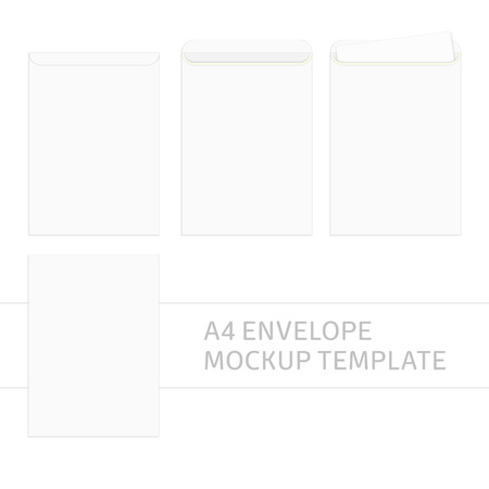 Vector blank white paper C4 envelope template. Envelopes mockup front and back view. Realistic style. Vector illustration EPS 10.  イラスト・ベクター素材
