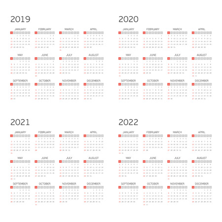 Calendar for years 2019, 2020, 2021 and 2022. Week starts from Sunday. Vector calendars Template. Basic grid. Simple calendar Layout