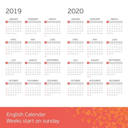 Calendar for years 2019 and 2020. Week starts from Sunday. Vector calendars Template. Basic grid. Simple calendar Layout.