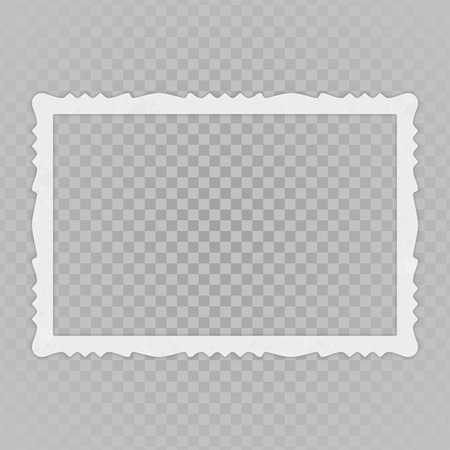 Blank photo frames with shadow effects isolated on transparent background. Vintage photos for your picture. Rectangular shape. Vector illustration in realistic style. EPS 10. Illustration