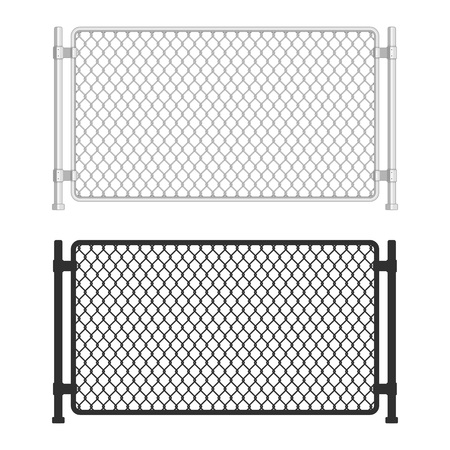 Chain link fence. Fences made of metal wire mesh on white background. Wired Fence pattern in realistic style. Mesh-netting. Vector illustration EPS 10.