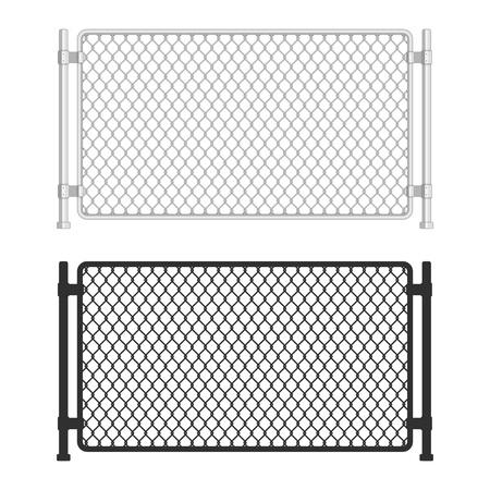 Grillage. Clôtures en treillis métallique sur fond blanc. Motif de clôture filaire dans un style réaliste. Filet de maille. Illustration vectorielle Eps 10.