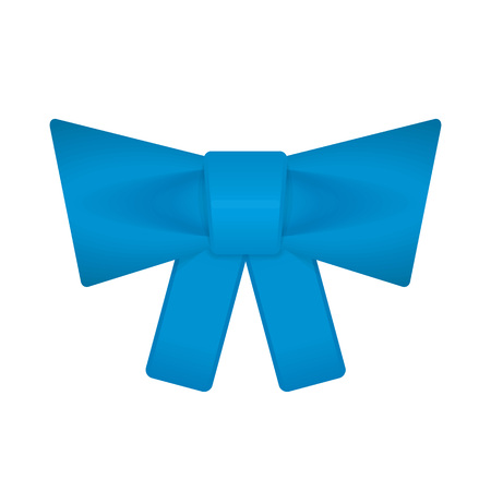 Decorative blue bow in flat style. Beautiful gift knot isolated on white background. Vector illustration. EPS 10.