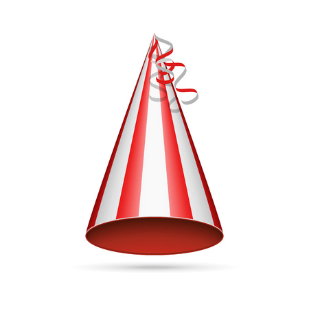 Red party hat isolated on white background. Accessory, symbol of the holiday. Birthday Colorful Cap vector illustration. EPS 10.