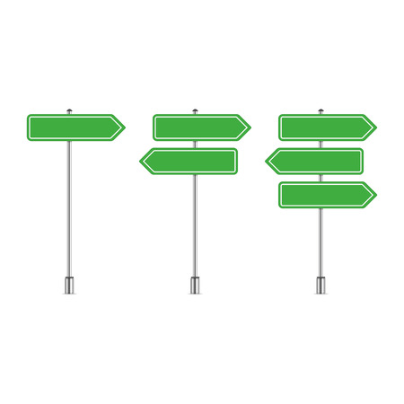 Street sign template with place for text. Blank road signs isolated on white background. Green arrow signposts in realistic style. Vector illustration EPS 10. Illustration