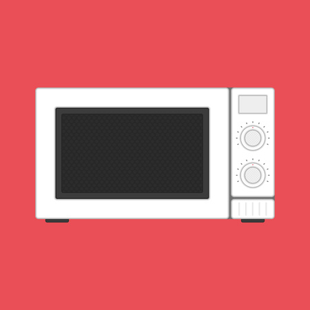 Microwave icon in flat style. Front view. Kitchen equipment. Device from warming up the food. Steel microwave isolated on white background. Vector illustration EPS 10.