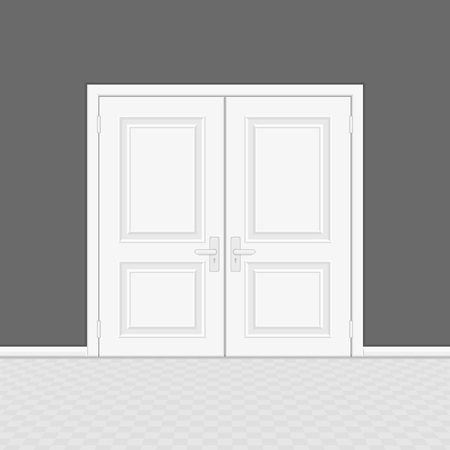 Closed entrance door with frame. Realistic style. White interior wooden doors on gray wall background. Vector illustration EPS 10.