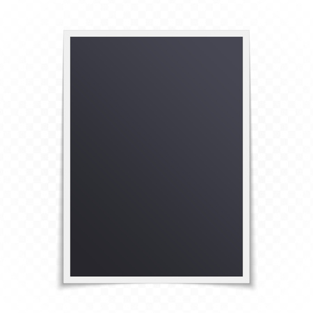 Single blank photo frame with shadow effects, isolated on transparent background. Vintage Photo Frame mockup in realistic style for your picture. Vector illustration EPS 10. Illustration