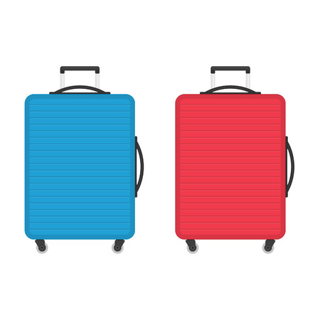 Travel suitcase set with wheels, in flat style. Plastic travel bag isolated on white background. Baggage icon. Luggage case vector illustration. Travelling, tourism or trip concept. EPS 10.