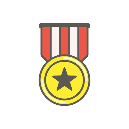 Gold medal with red ribbon. Medal with star in simple flat style. Winner award icon isolated on white background. Best choice badge. Vector illustration EPS 10.  イラスト・ベクター素材