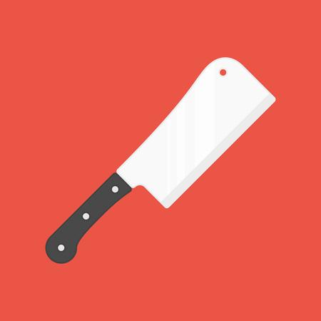 Icono de cuchillo de cocina. Cuchilla de carnicero, cuchillo de carne aislado sobre fondo rojo. Equipo de cocina de estilo plano. Ilustración de vector EPS 10.