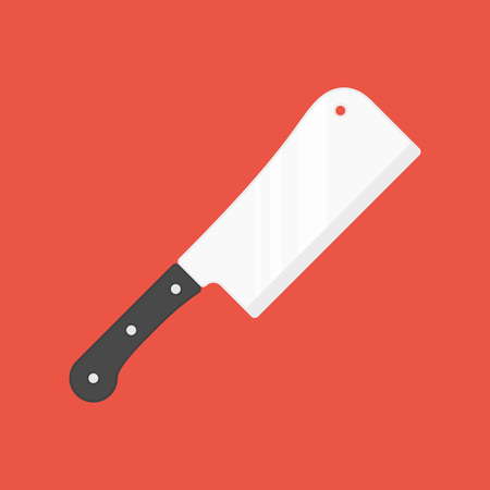 Kitchen cleaver icon. Butcher blade, meat knife isolated on red background. Cooking equipment in flat style. Vector illustration EPS 10.