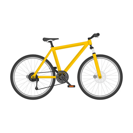 Mountain bike in flat style. Modern Bicycle isolated on white background. Highly detailed picture blue bicycle. Cycling, sports concept. Vector illustration EPS 10.