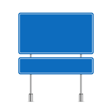 Blank road sign in realistic style. Blue Traffic Road Sign isolated on white background. Highway board with place for text. Vector illustration EPS 10.