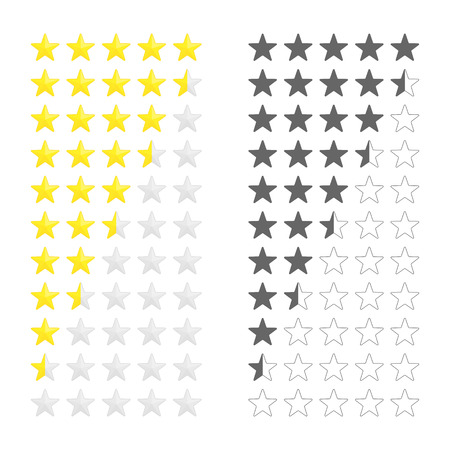 Five stars ratings template. Rating system in flat style, isolated on white background. Customer product rating, feedback or review ranking. Vector illustration EPS 10.  イラスト・ベクター素材