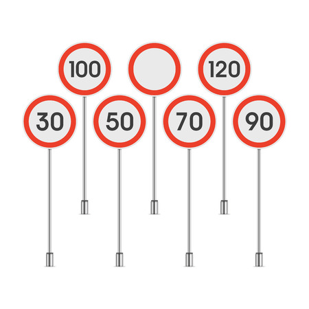 Traffic speed limit sign set isolated on white background. Limit of maximum speeds road signs. Realistic style. Vector illustration EPS 10. Illustration