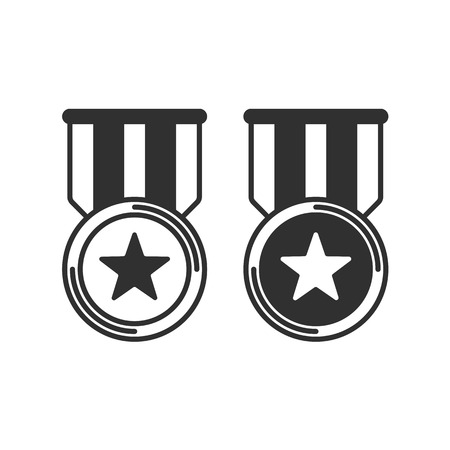 Medal with ribbon icons set. Medal with star in simple flat style. Winner award icon isolated on white background. Best choice badge. Vector illustration EPS 10.