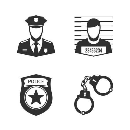 Police icon set in flat style. Policeman Officer and criminal avatar, handcuffs and a police badge. Vector illustration EPS 10.