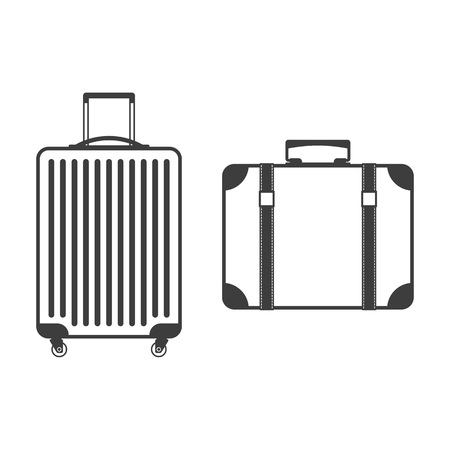 Travel suitcase with wheels in flat style. Modern and vintage travel bag isolated on white background. Baggage icon set. Luggage case vector illustration. Travelling, tourism or trip concept. EPS 10.