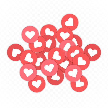 Like, Heart icons background. Social nets red heart web buttons isolated on transparent background. Design Elements for Business App, Marketing, SMM or CEO. Vector illustration EPS 10.  イラスト・ベクター素材