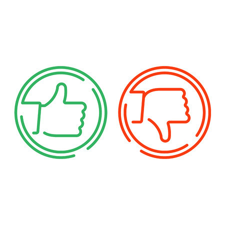 Like and Dislike icon. Thin line check mark icons set isolated on white background. Thumbs up and thumbs down icons. Green like or confirm button, red dislike or reject button. Yes or No symbol.