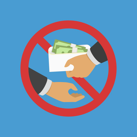 Anti Corruption concept. Man gives an envelope with money another man. Businessman giving a bribe. Cash in hands of businessmen during corruption deal. Vector illustration in flat style. EPS 10. Illustration