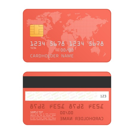 Credit card with world map, isolated on white background. Realistic style. Two sides. Highly detailed mock up of red credit cards. Front and back. Vector illustration EPS 10.