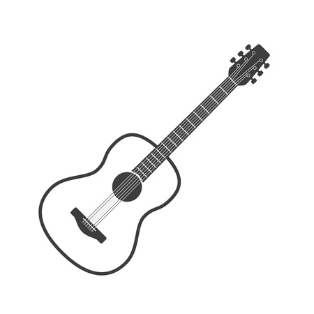Wooden acoustic guitar in simple flat style. Classical six-string Guitar icon isolated on white background. String plucked musical instrument. Vintage music equipment. Vector illustration EPS 10.